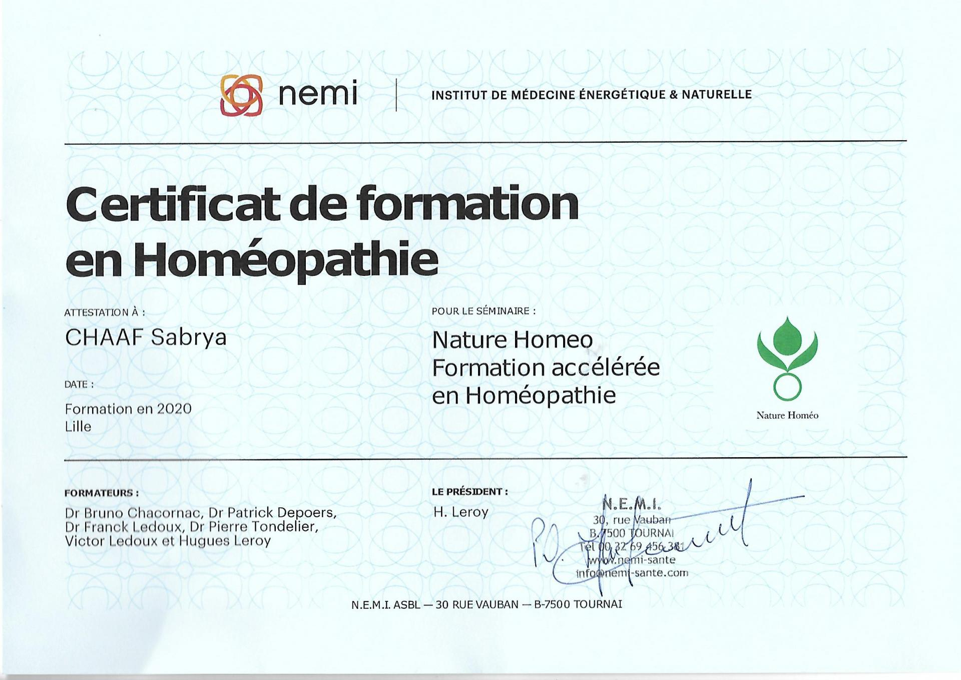 Certification homeopathie sabrya chaaf