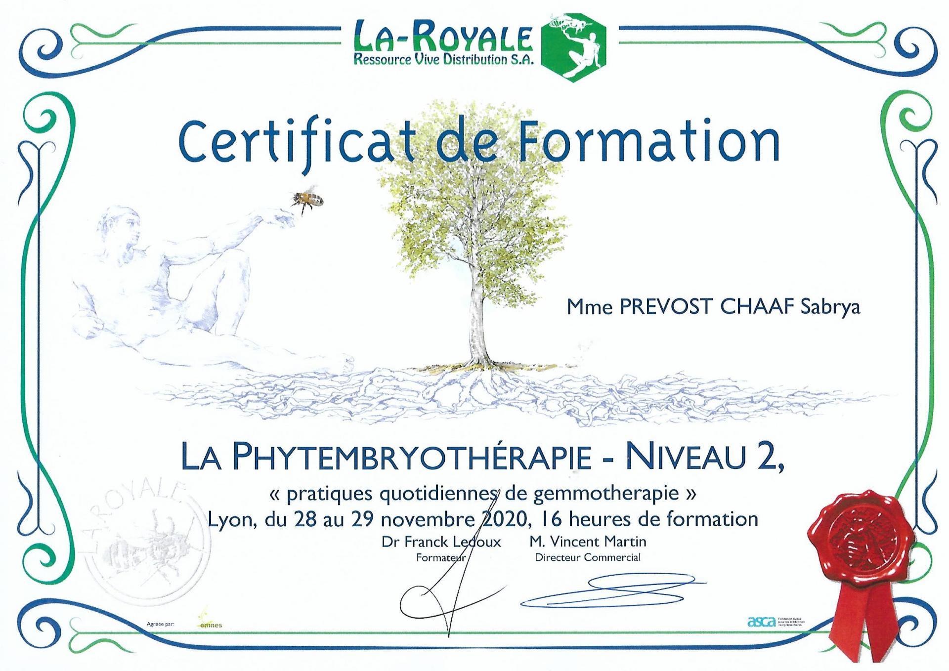 Sabrya chaaf certificat phyto embryo 2